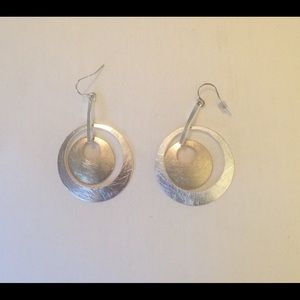 Silver and gold drop circle earrings